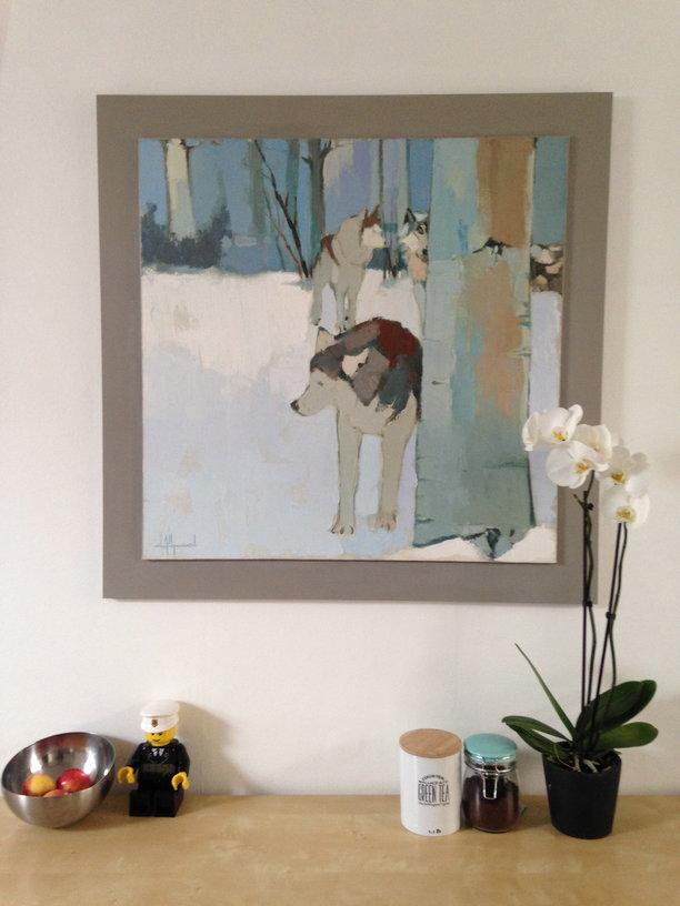 cadre sur mesure d'une huile sur toile de Dall'Agnol. Patine faite main peinture Ressource