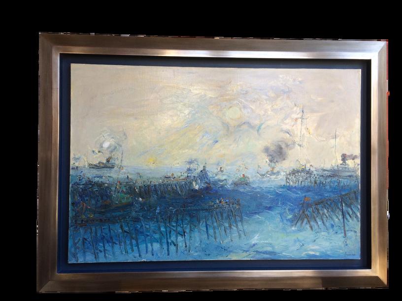 Encadrement sur mesure d'une huile sur toile. Artiste Jean Fusaro. Baguette argentée et patinée