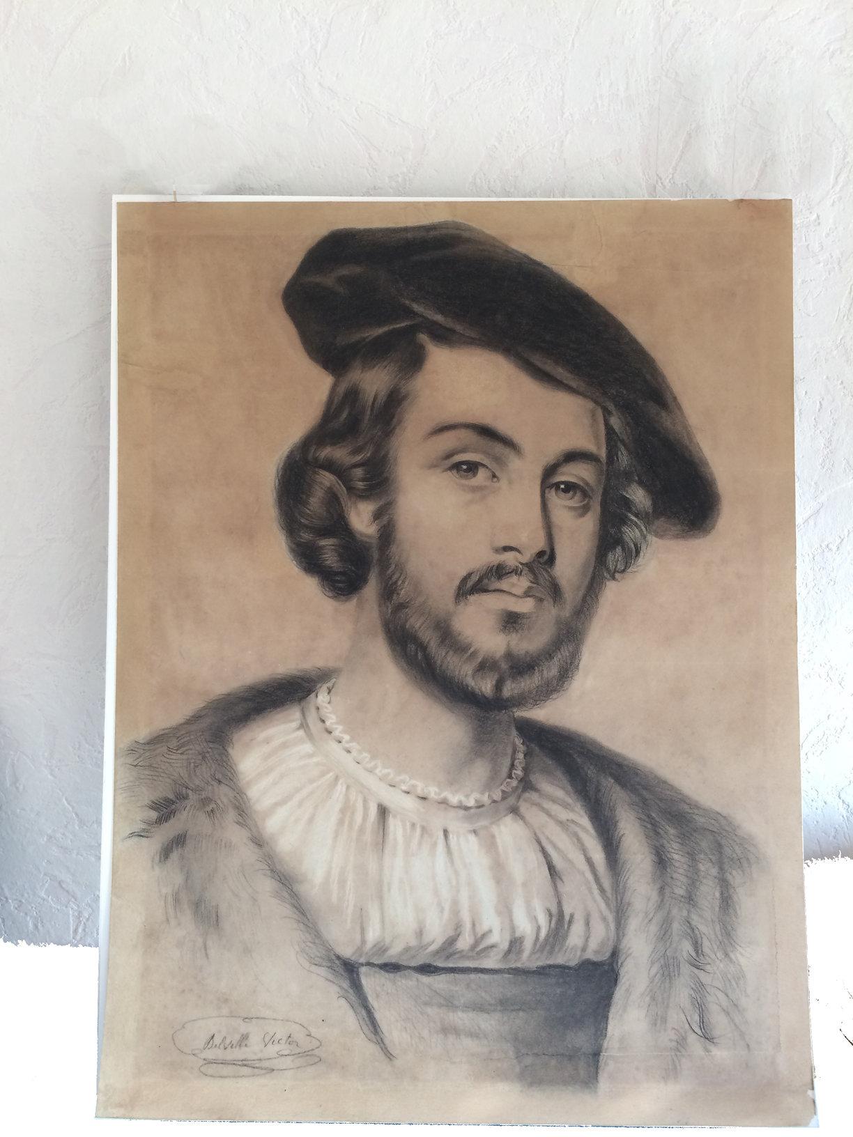 portrait au fusain restauré par l'atelier Les Baguettes Magiques, Virginie Breton restaurateur de papier à Lyon