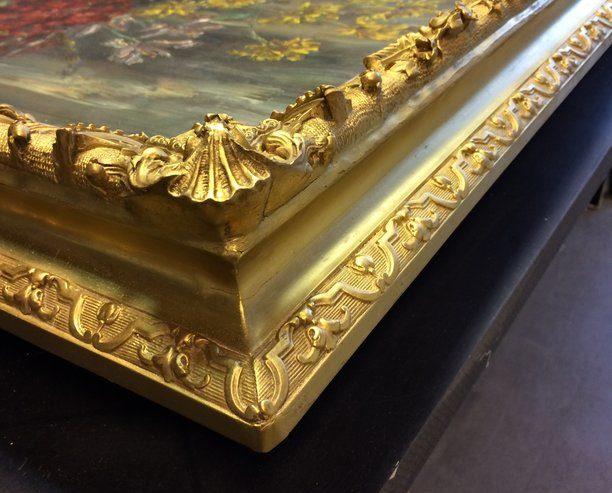 Restauration cadres travail de restauration - restauration d'un cadre en bois doré