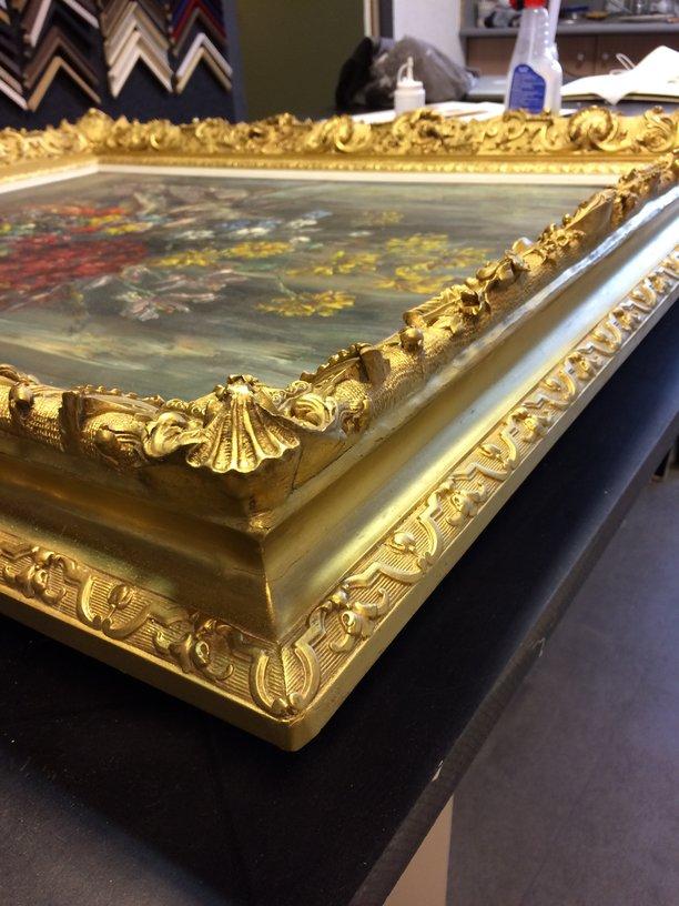restauration d'un cadre en bois doré