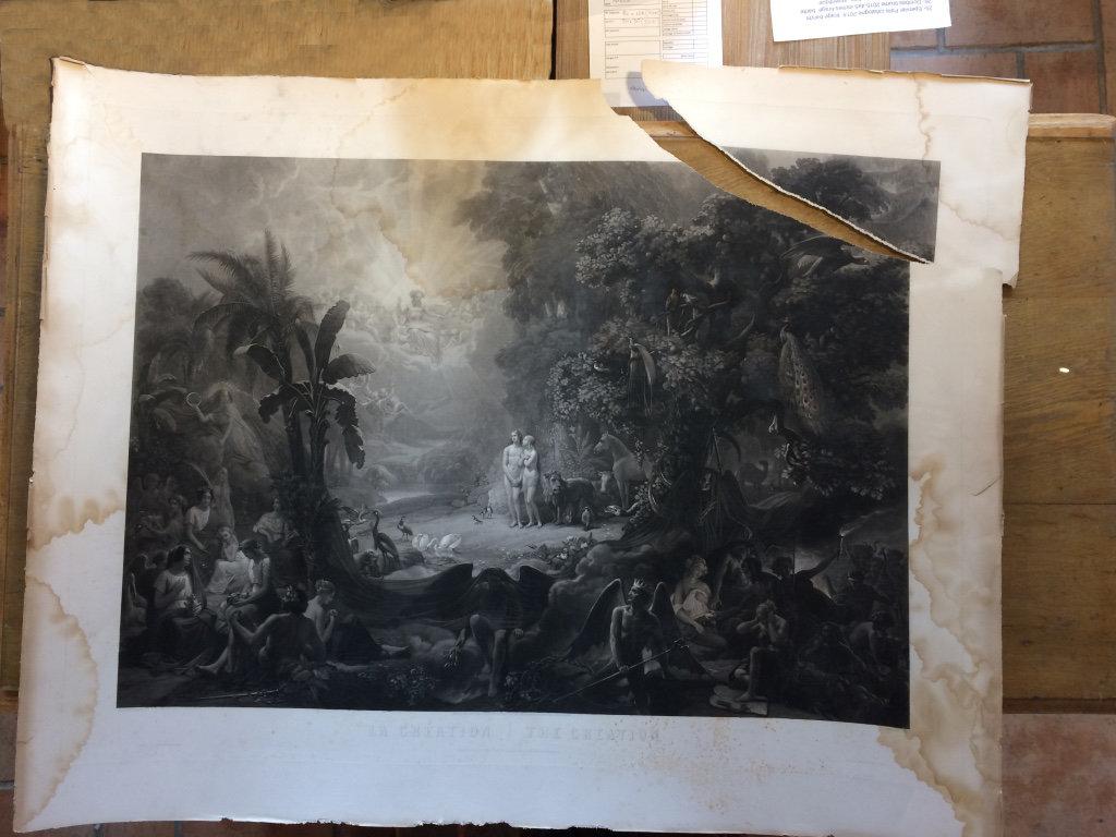 gravure ancienne déchirée et jaunie par le temps. Les Baguettes Magiques, Virginie Breton restaurateur de papier Lyon Croix-Rousse