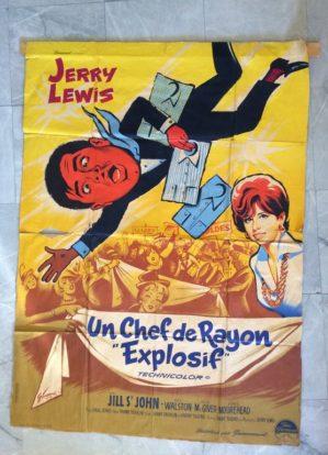 restauration affiche de cinéma Le Chef de Rayon Explosif avec Jerry Lewis en attente de restauration par l'atelier Les Baguettes Magiques à Lyon