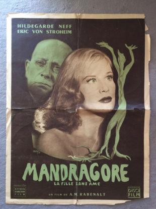 """Affiche de cinéma """"Mandragore"""" en attente de restauration par l'atelier Les Baguettes Magiques à Lyon"""