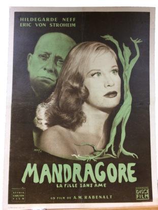"""Affiche de cinéma """"Mandragore"""" restaurée par l'atelier Les Baguettes Magiques à Lyon"""