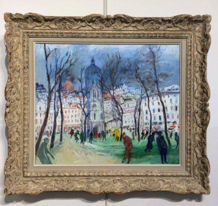 Restauration cadres tableau de Jacques Fusaro encadré avec un cadre restauré par l'atelier Les Baguettes Magiques à Lyon