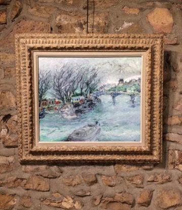 encadrement et restauration lyon tableau de Jacques Fusaro encadré avec un cadre restauré par l'atelier Les Baguettes Magiques à Lyon