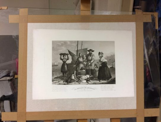 gravure restaurée et doublée en papier japon